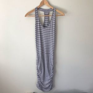 Athleta Gray Striped Racerback Active Fitted Dress